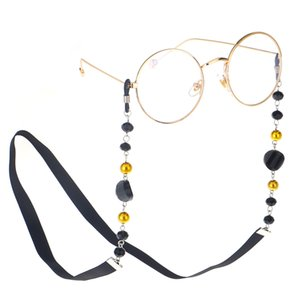 Wholesale Fashion Women Sunglass Chain Black Acrylic Beads Eyeglass Chains Anti slip Eyewear Cord Holder Neck Strap Reading Glasses Rope