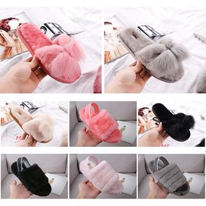 Wholesale Designer Women Furry Slippers Australia Fluff Yeah Slide Black Red casual Shoes Fashion Luxury Boots Sandals Fur Slides Slippers