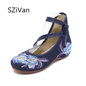 Wholesale Women Flats Shoes Chinese Embroidery Canvas Flower Embroidered Mary Janes Walking Dance Ballet Shoes Woman Plus Size