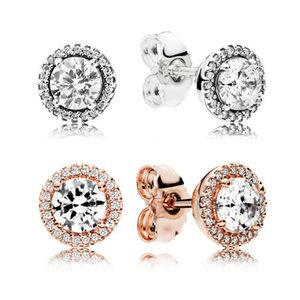 Wholesale Luxury Classic CZ Diamond Silver K Gold Stud Earring Original box for Pandora Real Silver Elegant Earrings For Women