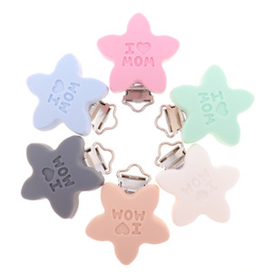 10pcs Silicone I Love MOM Clips BPA Free Baby Teether Teething Jewelry Accessories DIY Infant Pacifier Chain Holder Grade