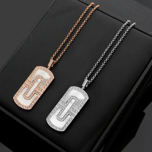Wholesale Low cost high quality paper shaped diamond necklace K rose gold couple necklace men and women love gifts