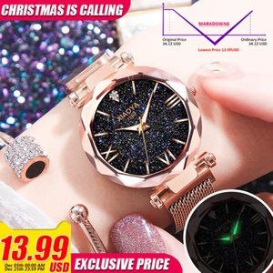 Wholesale Luxury Gold Women New Fashion Starry Sky Wristwatches Mesh Magnetic Strap Waterproof Quartz Watches Montre Femme Q190430