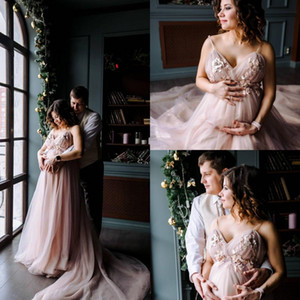 Bohemian 3D-Floral Blush Pink Pregnant Wedding Dresses 2019 Spaghetti Beach Boho Bridal Gowns Plus Size Maternity Wedding Bride Dress