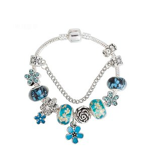 Wholesale 2019 new Luxury fashion brand for Pandora Dark magic bracelet Drops oil DIY blue print flowers Coloured glaze beads women bracelet