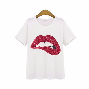 Wholesale 2019 Summer Tops Red Green Kiss Tooth Lip Tees Women Girl T Shirt Sequin Lips Designs Tshirt Woman Clothes fashion femininas