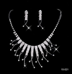 Wholesale Cheap high quality Hot Sale Womens Bridal Wedding Pageant Rhinestone Necklace Earrings Jewelry Sets for Party Bridal Jewelry