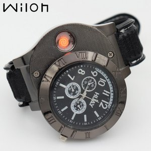 Wholesale Men watches Military USB Charging sports Lighter Watch Casual Quartz Wristwatches with Windproof Flameless Cigarette Cigar Lighter F665