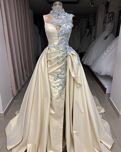 Sexy Stylish Charming 2019 African Dubai Wedding Dresses High Neck Lace Beaded Bridal Dresses Satin Sheath Wedding Gowns on Sale