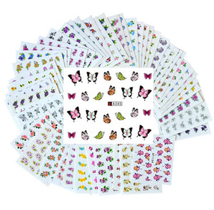 Wholesale 50 Sheets Set Mixed Flower Water Transfer Nail Stickers Decals Art Tips Decoration Manicure Stickers RRA2364