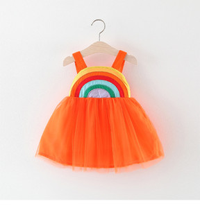 Wholesale rainbows dresses resale online - kids Girl clothes Dress Summer Sleeveless Supender Rainbow Mesh Design Dress Princess Girl Clothing Dress
