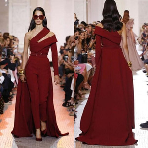 Wholesale 2019 Modern Elie Saab Wine Red Satin Jumpsuit Evening Dresses Custom Detachable Train Prom Dresses One Shoulder Women Formal Party Gowns