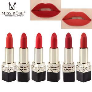 Wholesale MISS ROSE Matte Matte Lipstick Black Square Tube Lipstick Big Red Lipstick Makeup Hot Sale Free