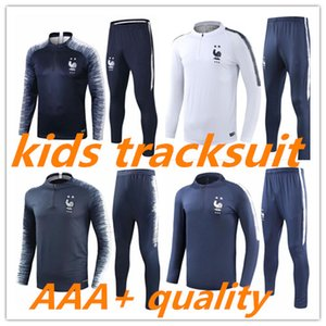 Wholesale 2018 French world cup champions kids tracksuit stars Two home GRIEZMANN POGBA DEMBELE MBAPPE KANTE GIROUD Matuidi boys training suit