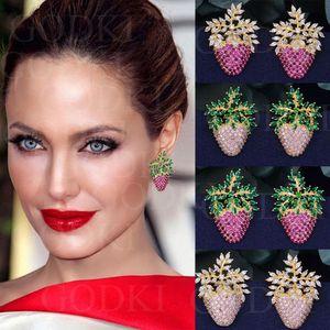 Godki Elegant Strawberry Leaf Fashion Multicolor Cubic Zirconia Women Wedding Engagement Dress Earrings J190702