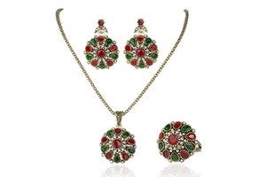 Wholesale necklace matching earrings for sale - Group buy Beautiful jewellery sets Exquisite Chinese retro wedding matching jewelry suit with ruby inlaid Necklace Ring Earrings