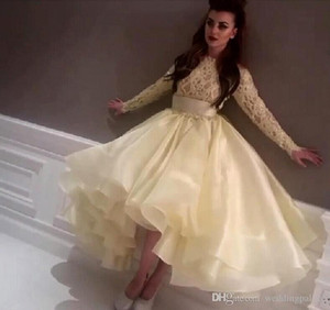 Hot Saudi Arabic Evening Dresses Light Yellow Long Sleeves Lace Organza High Low Prom Gowns Party Dresses on Sale