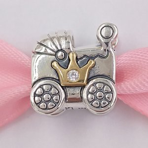 Wholesale babies bracelets gold for sale - Group buy Authentic Sterling Silver Beads Pandora Silver Ct Gold Baby Carriage Cz Charm Charms Fits European Pandora Style Jewelry Bracelets N