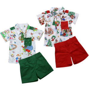Wholesale Cute Christmas Toddler Baby Kids Boys Clothes Set Xmas Print Short Sleeve T Shirt Tops Short Pants Outfits Santa Claus Christmas