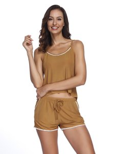 66941511fb Wholesale YF282 Women's solid color sexy lace pajamas two-piece sling  shorts home service