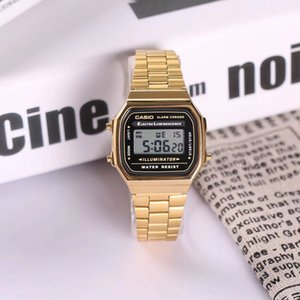 Wholesale 2019 Ultra thin Gold Cold LED light watches unisex men women causal sport Multifunction Metal Electronic Digital Watches Dress Watches
