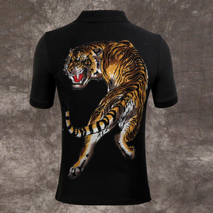 Wholesale tiger Polo shirts Men fashion designer brand clothing short sleeve calssic skull luxury t shirt High Quality Business Casual tops tee M XL