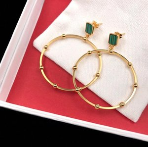 Wholesale Gold hoop earrings exaggerated large circle malachite stud earrings unique personality classic circle Designer earrings