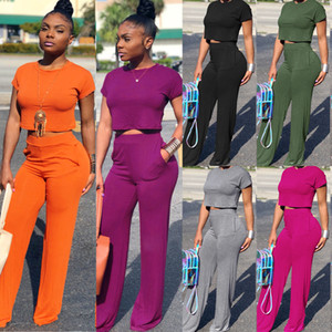 Wholesale Women Summer Two Piece Sets O Neck Short Sleeve Tee Top Wide Leg Long Pants Suit Tracksuit Fashion Outfits Colors