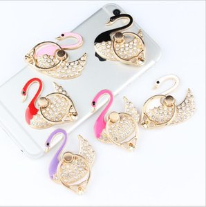 Wholesale UK wholesales crystal swan ring bracket Phone Stand Mount Tablet Desk Finger Socket Grip Holder For Smartphone Ring Holder