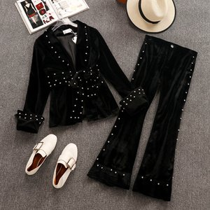 Wholesale 2019 Spring and Autumn Women s Long Sleeve Diamond Black Velvet Suit Blazer Bead Flare Pants Two Piece Ladies Trousers Set