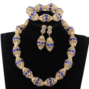 Wholesale Decorate Royal Blue Rhinestone African Gold Beads Necklace Jewelry Nigeria Wedding Beads Necklace Earrings Bracelet P84