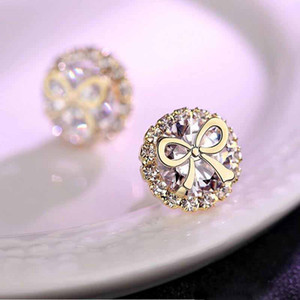 Wholesale Infinity Sweet Cute Classical Fashion Jewelry Sterling Silver Gold Fill Round Cut White Topaz CZ Diamond Women Bridal Stud Earring Gift