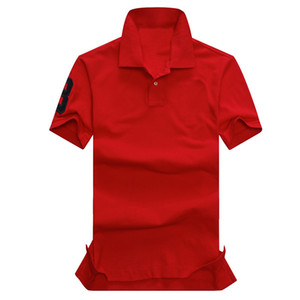 Wholesale Fashion-High quality Summer 100% Cotton Polo Shirt USA American Brand Red Color Polos Men's Big HORSE Classic Sport RL Polo Polos