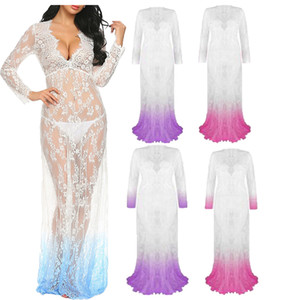 Wholesale out dress photos for sale - Group buy Women Long Dress Sexy Hollow Out Dresses Deep V Neck Lace Dress Long Sleeve See through Photo Photography Props Maxi Dress YFA862