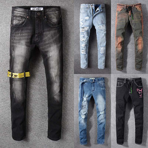 Wholesale 50 Off New Arrival Top Quality Brand Designer Men Denim Jeans Biker Skinny Jeans Casual Black White Trousers Cowboy Famous Brand pants