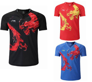 Men women Li-Ning Table Tennis T-shirt National Team Competition Wear CP Player Edition Chinese Dragon Sports shorts, Badminton Tennis Shirt on Sale