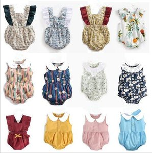 Wholesale Baby Girl Clothes Summer kids flying sleeveless Cotton Rompers INS Infant Floral print Romper Round Collar Elegant Summer Jumpsuits LT627