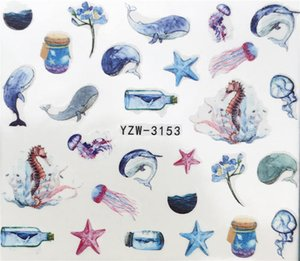 2019 New Arrivial Nail Stickers Wishing Bottle   Dolphin   Starfish Plant Pattern 3d Manicure Sticker Nail Water Sticker