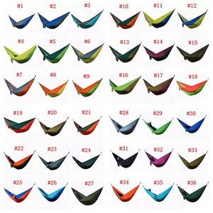 Wholesale 36 Colors cm Nylon Single Person Hammock Parachute Fabric Hammock Travel Hiking Backpacking Camping Hammock Swing Outdoor Bed AAA501