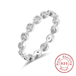 Wholesale stackable rings for sale - Group buy solid Sterling Silver Ring Alluring Brilliant Marquise Stackable Finger Rings with Clear CZ Original Fine Jewelry