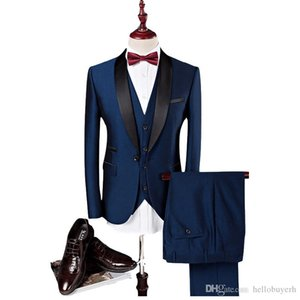 Wholesale Latest design Custom made Handsome wedding suits Tuxedos Slim Fit Groom Tuxedos formal wears Shawl Lapel Groomsman suits Jacket Pants vest