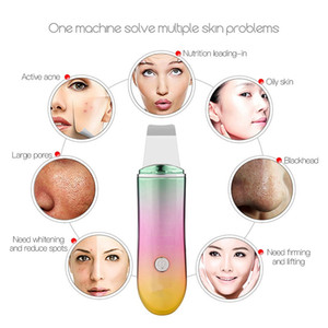 Wholesale Gradient Rechargeable Ultrasonic Ion Facial Cleaner Face Skin Scrubber Cleansing Spatula Peeling Vibration Facial Cleansing Devices HHA136