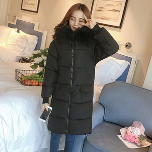 Wholesale Cotton padded Large hair neck Mid long Overknee Winter Bread Loose Cotton padded Black Jacket Women