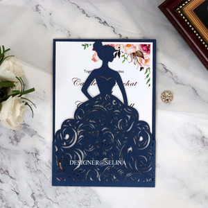 Wholesale printable birthday cards for sale - Group buy Elegant Navy Blue Laser Cut Wedding Invitations Color Printable Princess Bridal Shower Invitations Card for Quinceanera Birthday Invites