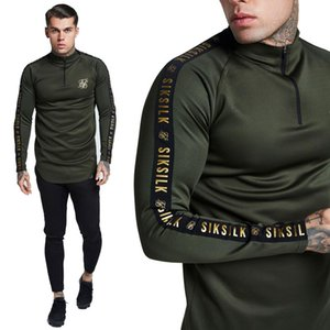 Wholesale New Fashion Men s Stretch Sik Silk T Shirt Solid Color army green high elastic Zipper collar Long Sleeve Slim male CasualT Shirt
