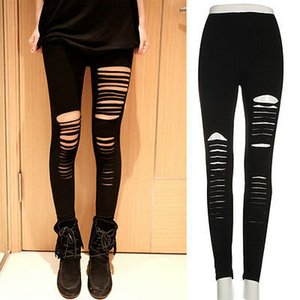 Sexy Women Goth Punk Slashed Ripped Cut Out Slit Stretch Pants Leggings Black Hold Women Pencil