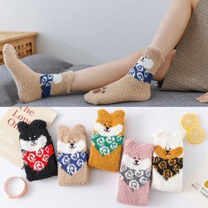 201910 Winter Animal Slipper Socks Warm Fluffy Christmas Socks Coral Casual Sock Fuzzy Home Stockings Anti-slip Indoor Floor Stocking M762F
