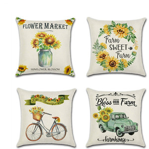 Wholesale New Farm Sunflower Pillow Case Thanksgiving Autumn Harvest Theme Cushion Cover Square quot quot Pillowcases Home Office Sofa Car Fabric Decor