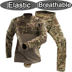 Wholesale New elastic military uniform camouflage frog suit US army camo combat shirt tactical pants airsoft training paintball clothing set softair