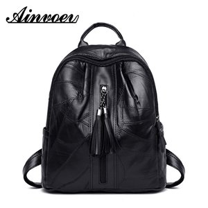 Ainvoev 2019 Leather Preppy Style Backpack for College School Bag Pack Carry Book Package Tassel Sheep Skin Cell Phone Packet